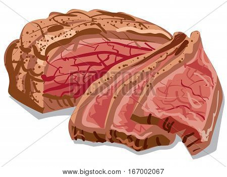 illustration of the cooked sliced bacon meat