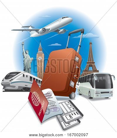 concept illustration of travel around the world transport and passport with tickets