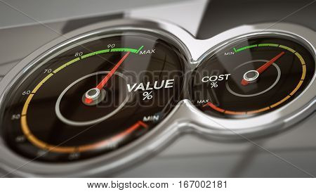 Conceptual 3D illustration of two dials with needles pointing high value and low cost horizontal image. Concept of business analysis