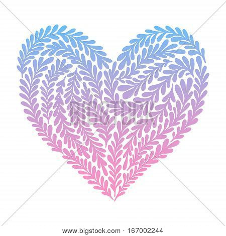Hand Drawn Vector Illustration - Heart In Floral Style. Happy Valentine Day. Perfect For Invitations