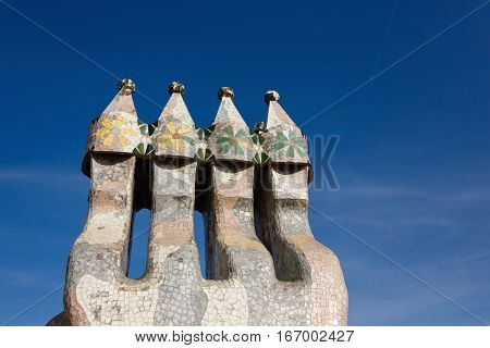Barcelona Spain - January 02 2017: The chimney on a roof of the Casa Batllo creation by famous architect Antoni Gaudi