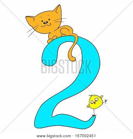 Number two. Cheerful greetings. Figures and animals. Kitten and chicken. Vector isolated on white background. Cartoon doodle.