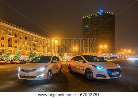 ROSTOV-ON-DON, RUSSIA - CIRCA DECEMBER, 2016: Brand new motor cars Hyundai Solaris and Hyundai i40 during test drive