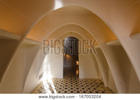 Barcelona Spain - January 02 2017: The chamber in the Casa Batllo creation by famous architect Antoni Gaudi