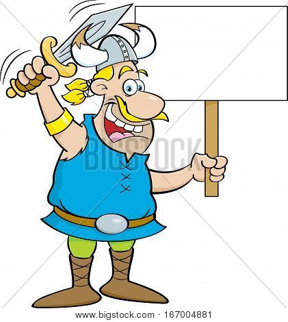 Cartoon illustration of a viking waving a sword and holding a sign.