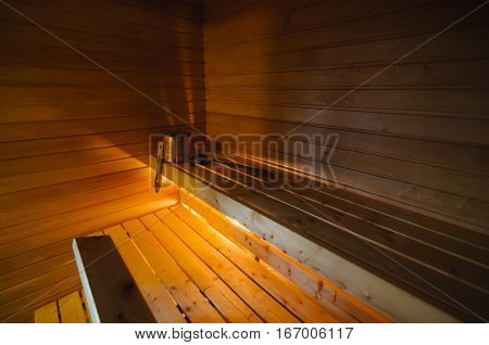 Traditional Finnish wooden sauna in a Lapland cabin