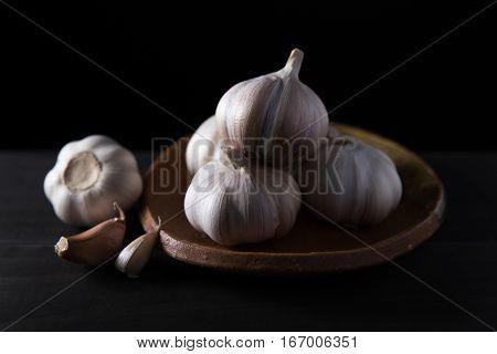 Garlic cloves, Garlic cloves on wooden vintage background.