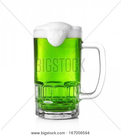 Mug with cold green beer on white background. Saint Patrick's Day concept