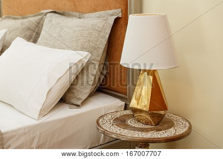 Luxury Wood Carved Nightstand With Golden Lamp
