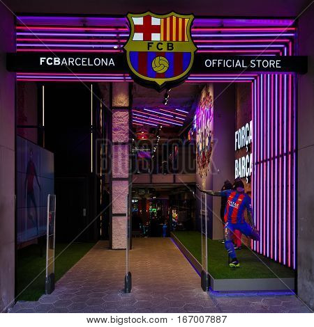 Barcelona Spain - January 02 2017: Entrance to official store of football club Barcelona located on the Passeig de Gracia street