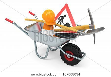 Wheelbarrow with shovel traffic sign traffic cone and safety helmet isolated on white background 3D rendering