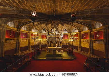 Barcelona Spain - January 02 2017: Interior of Gothic church located in a gothic quarter of the city