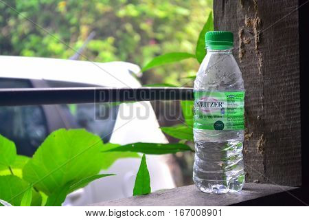 KEMAMAN MALAYSIA - January 12 2017 Bottle of SPRITZER purified drinking water at the window