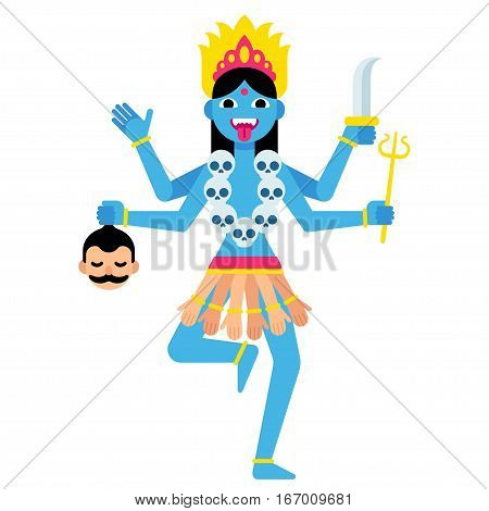 Hindu goddess Kali with traditional attributes - severed head skulls and weapons. Cartoon vector illustration in modern flat vector style.
