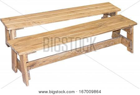 the wooden bench on a white background