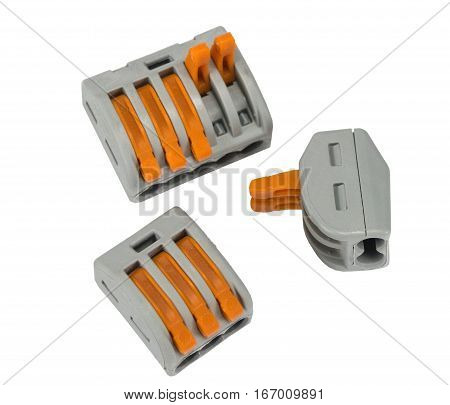 Compact splicing connector isolated on white background poster