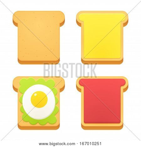 Breakfast toast set. Slices of toast with butter jam avocado and fried egg. Flat cartoon style vector illustration.