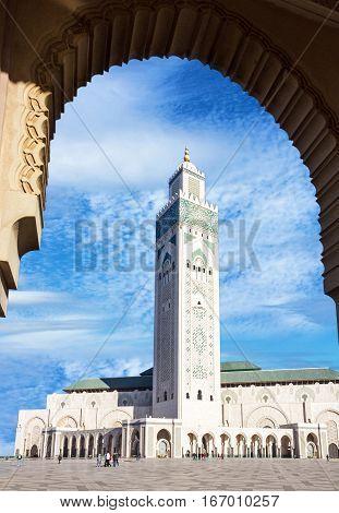 Casablanca in Morocco. Mosque Hassan II building