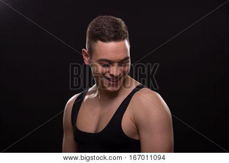 Man Looking Down Smiling