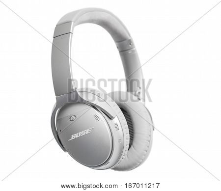 RIGA LATVIA - January 10 2017: Bose QuietComfort 35 wireless headphones with Acoustic Noise Cancelling technology.
