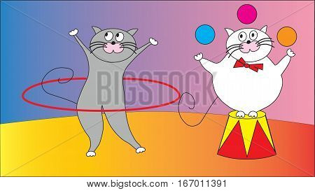 Two funny cat suit representation in the circus.
