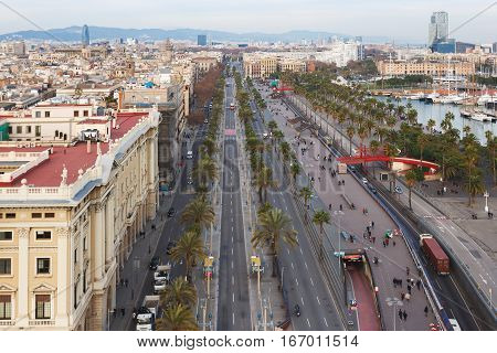 Traffic on the Passeig de Colom street view from highest point of Columbus tower in Barcelona