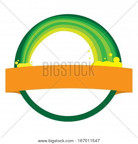 Isolated green tag with a rainbow, Vector illustration
