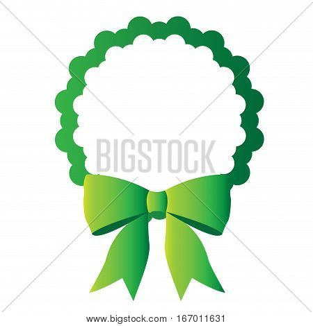 Isolated green tag with a ribbon, Vector illustration