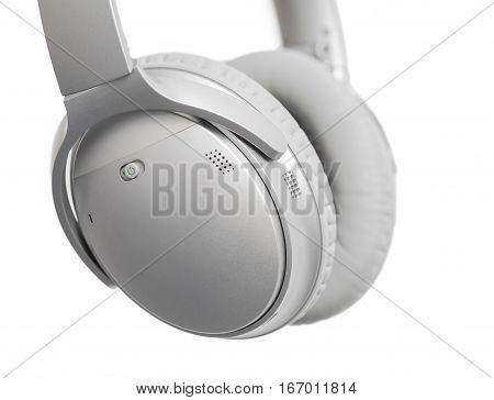 Headphones isolated on white background close up