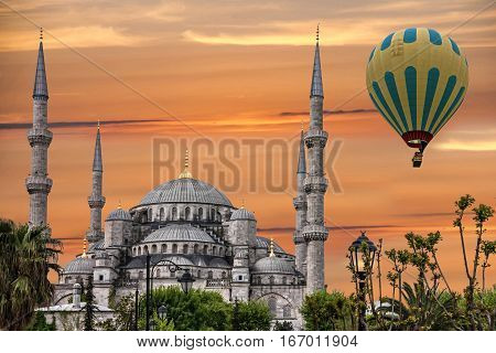 Turkish mosque, Istanbul, Turkey. Blue mosque Sultanahmet