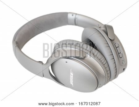 RIGA LATVIA - January 10 2017: Bose QuietComfort 35 wireless headphones.