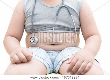 Obese Asian Boy Show Belly With Stethoscope