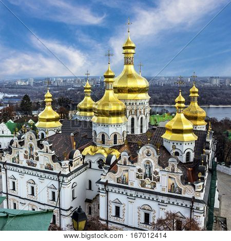 Kiev, Ukraine. Cupolas of Pechersk Lavra Monastery and river Dniepr