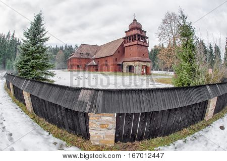 Wooden Articular Church of Svaty Kriz in Slovakia with fisheye lens
