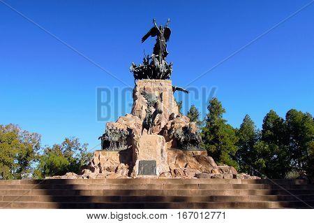 Long shot of the monument on top of the hill Cerro de la Gloria in Mendoza Argentina South America