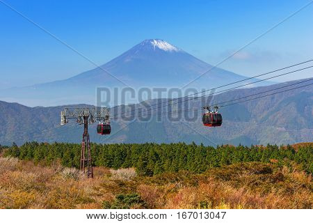 Ropeway to the Mount Fuji. An active volcano and the highest mountain in Japan