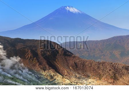 Mount Fuji. An active volcano and the highest mountain in Japan