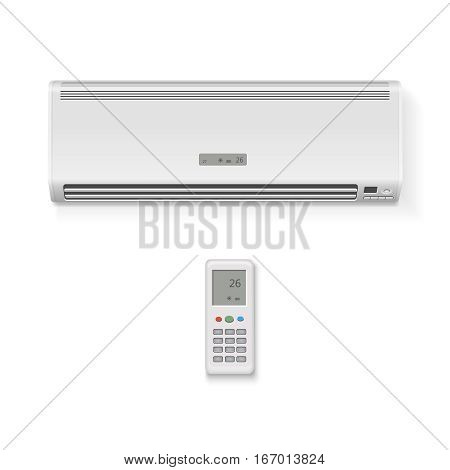 Split system air conditioner and remote controller. Realistic illustration