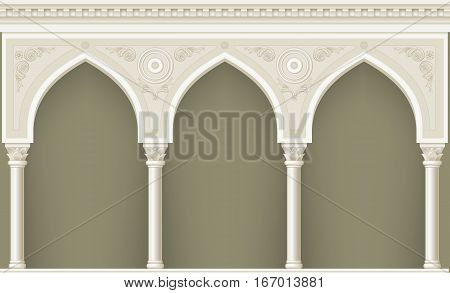 Palace Arcade in an old oriental style. Facade of a classical building. Vector graphics