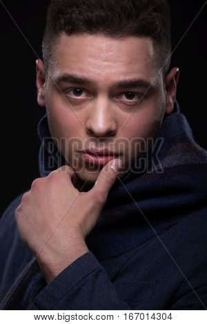 Young Man Head Face Closeup Scarf Jacket Hand