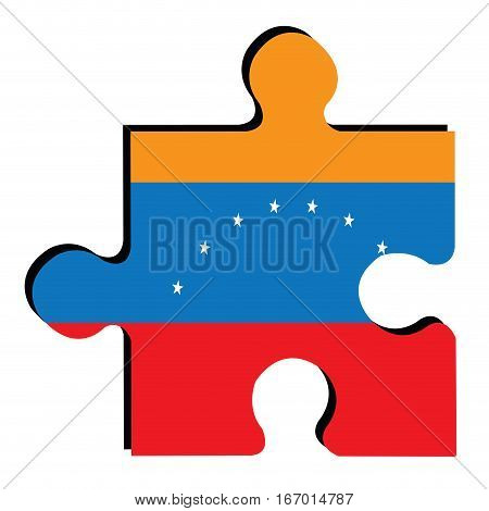 Isolated piece of puzzle with the Venezuelan flag, Vector illustration
