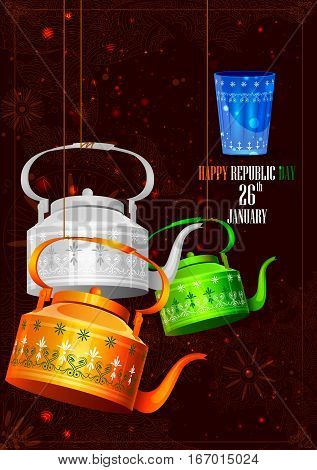 easy to edit vector illustration of Indian tricolor kettle for Happy Republic Day of India