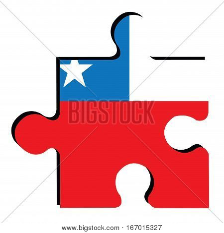 Isolated piece of puzzle with the Chilean flag, Vector illustration