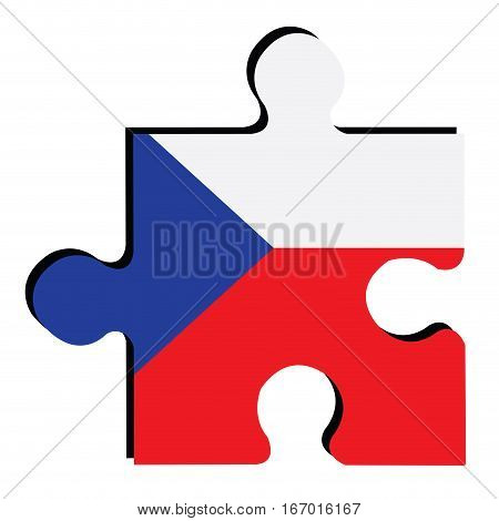 Isolated piece of puzzle with the Czech Republican flag, Vector illustration