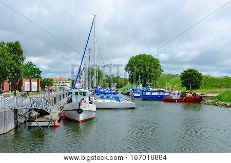 KLAIPEDA LITHUANIA - JULY 11 2015: Yachts near waterfront Klaipeda Lithuania