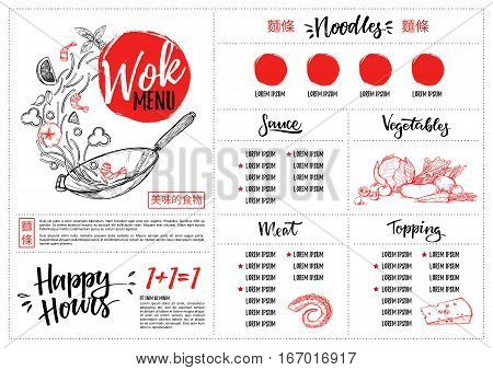 Hand Drawn Vector Illustration - Asian Food. Wok Menu With Calligraphic Phrases. Perfect For Restaur