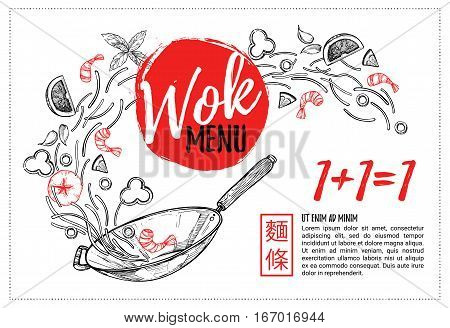 Hand Drawn Vector Illustration - Promotional Brochure With Asian Food. Wok Menu With Calligraphic Ph