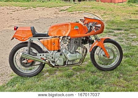 PIANGIPANE, RA, ITALY - APRIL 25: vintage Italian cafe racer sports bike Laverda 750 SFC in classic car and motorcycle rally