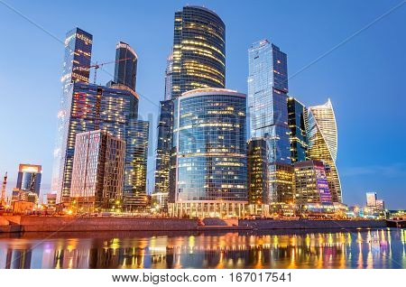 MOSCOW RUSSIA - MARCH 19 2016: Night view of the Moscow International Business Center also referred to as Moscow City is a commercial district in central Moscow Russia.