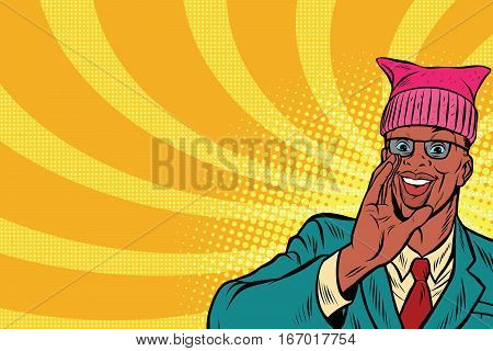 Politician man in a pussy hat campaigning. Retro pop art comic vector illustration. African American people